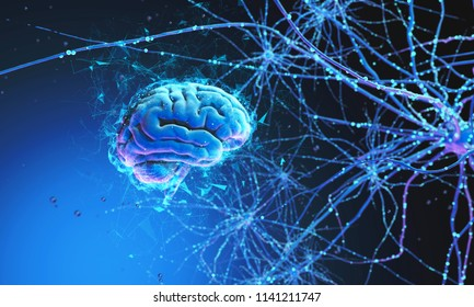 3D model of the human brain on dark background surrounded by neural networks. 3d render. 3d illustration Synapses and neurons