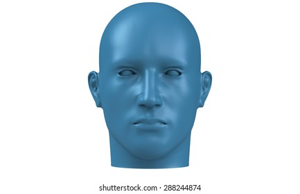 3d model of a humane head with blue skin isolated on white. it is a man face with bold head staring at various angles looking strait.
