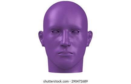 3d model of a humane head with purple skin isolated on white. it is a man face with bold head staring at various angles looking strait.