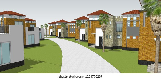 3D model, illustration of townhouse. Architectural drawing.