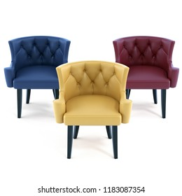 3d model leather chair  3 color