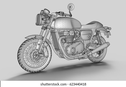 3d model of motorbike wireframe on the grey background