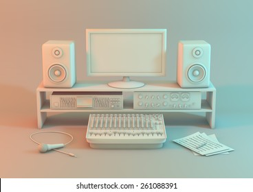 3d model of a music recording studio on a white background. A studio set up for sound recording with monitor equipment,  input devices and a microphone on a white background Created with 3d software.