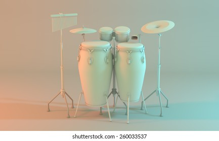3D model of a percussion kit on an empty white room. A percussion set that contains instrument such as congas, cymbals, bongos, cowbell . Created with 3d software, white color for a minimalist mood.
