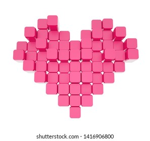 3D model of the pink heart, consisting of blocks - cubes isolated on a white background. Pixel, or voxel art.