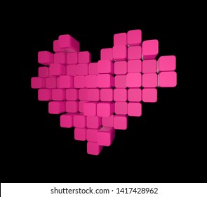 3D model of the pink heart, consisting of blocks - cubes isolated on a black background. Pixel, or voxel art.