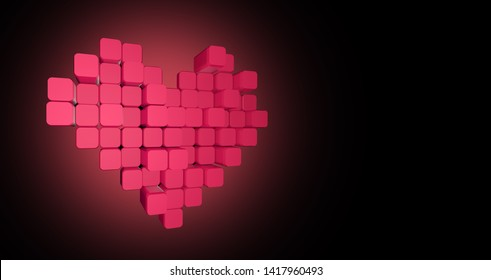 3D model of the pink heart, consisting of blocks - cubes on a gradient pink-black background. Pixel, or voxel art.