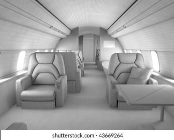 3d model plan of Private plane interior with custom design