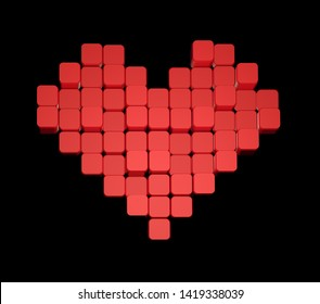 3D model of the red heart, consisting of blocks - cubes isolated on a black background. Pixel, or voxel art.