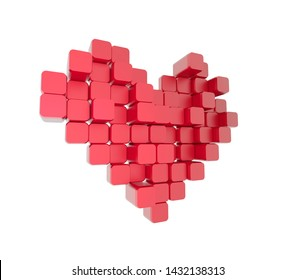 3D model of the red heart, consisting of blocks - cubes isolated on a white background. Pixel, or voxel art.