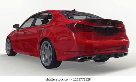 3d model red lexus gs on white background. 3d rendering.