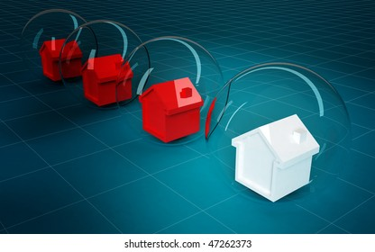 3d model of red and white houses in blubbles background