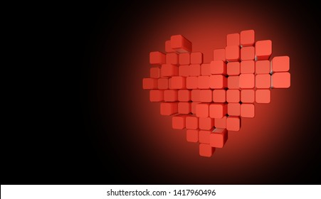 3D model of the redheart, consisting of blocks - cubes on a gradient red - black background. Pixel, or voxel art.