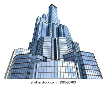 3d model of skyscraper close up view on white background