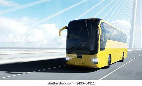 3d model of tourist bus on bridge. Very fast driving. 3d rendering.