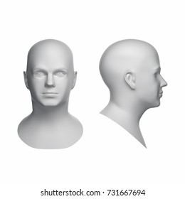3D model of white human man head with big wireframe isolated on white