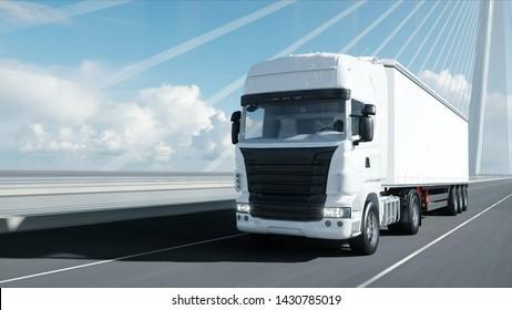 3d model of white truck on the bridge. 3d rendering.