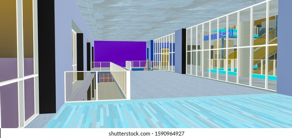 3D modelization of a fictive building, generated with a design software in inverted colors :  a vast room having large bay windows, built on a mezzanine floor, with stairs to accede lower levels