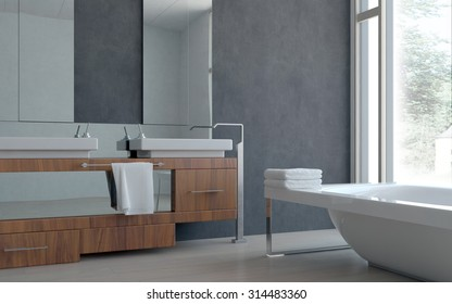 3D Modern Architectural Home Bathroom Interior Design with Dual Sink and Bathtub. 3d Rendering