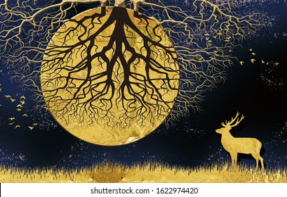 3d modern art mural wallpaper with dark blue Jungle , forest  background . golden deer, black christmas tree , mountain , moon with white birds . Suitable for use as a frame on walls .