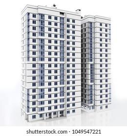 3d modern high rise building on white background 3D illustration