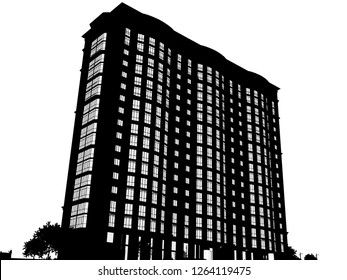 3d modern high rise building 3D illustration