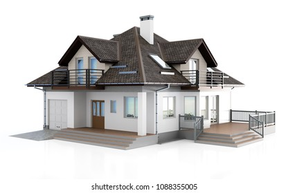 3d modern house on white background 3D illustration