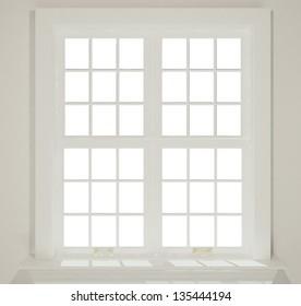 3-d modern house windows close on white background