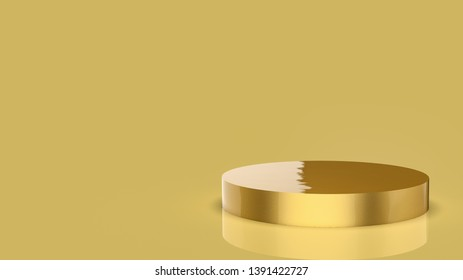 3d modern and minimalist product stand podium. isolated gold background render. studio lighting gold cylinder shape.