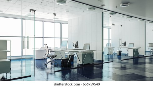 3d modern office interior render