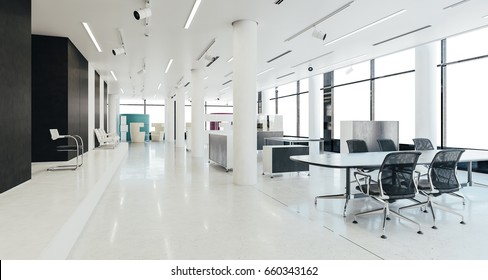 3d modern office space interior render