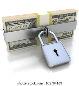 3D Money and lock. Data security concept.