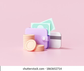 3D Money Saving icon concept. Wallet, bill, coins stack, and credit card on pink background, 3d rendering illustration