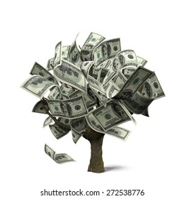 3D. Money Tree, Currency, Growth.