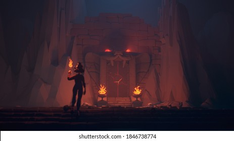 3d monochrome illustration of low poly mystical cave, cobra-headed gate with glowing red eyes. Girl with torch stands on the stone steps near the destroyed wall. Skulls, swords, shields lie on ground.