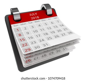 3d monthly calendar perspective view isolate, 2018 july page