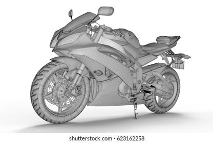 3d motorbike in wireframe on the white backgroung isolated