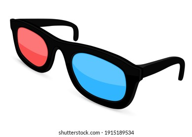 3d movie glasses. Colored spectacles for movie theater. 3d illustration isolated on white background. Raster version