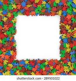 3d multicolor randomly scattered puzzle pieces frame background