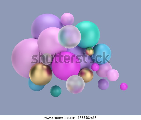 3d multicolored balls. 3d image. White background.