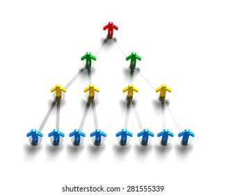3D multi-colored people connecting, organization structure concepts.
