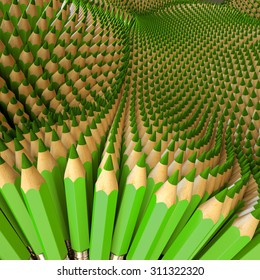 3d multiply green pencils background, creative artistic concept