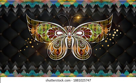 3d mural art wallpaper silver butterfly and colored triangles . black background and golden light and circles . suitable for canvas wall frames .