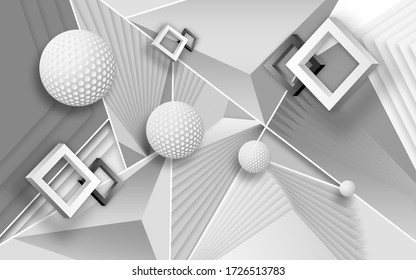 3d mural digital modern wallpaper with golden ball sphere and circles . gray and white waves background . will visually expand the space in a small room, bring more light