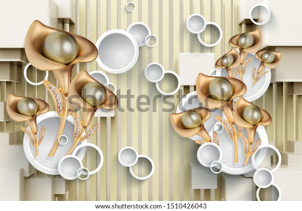 3d mural with golden jewelry and flowers wallpaper