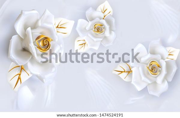 3D White Rose Wall Mural