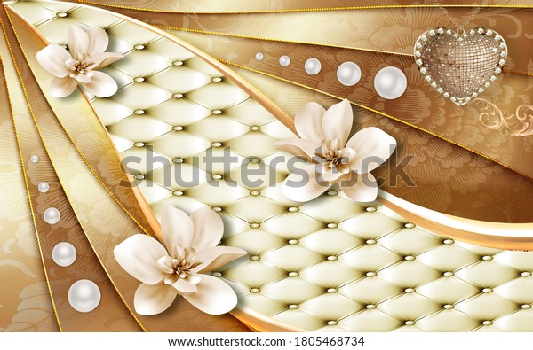 3d mural wallpaper. Decorative columns and flowers Jewelry, golden leather.