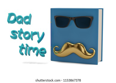 3D mustache and book isolated on white background 3D illustration.