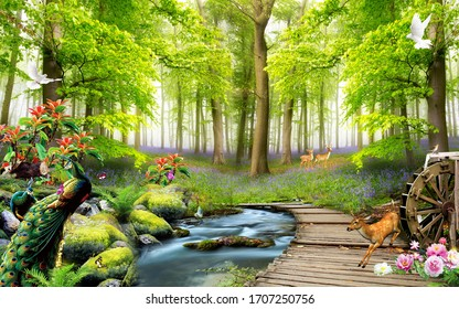 3D nature forest and animals wallpaper