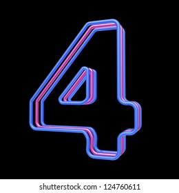 3d neon number 4 isolated on black background